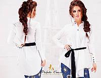 Асимметричная женская рубашка с черным поясом
