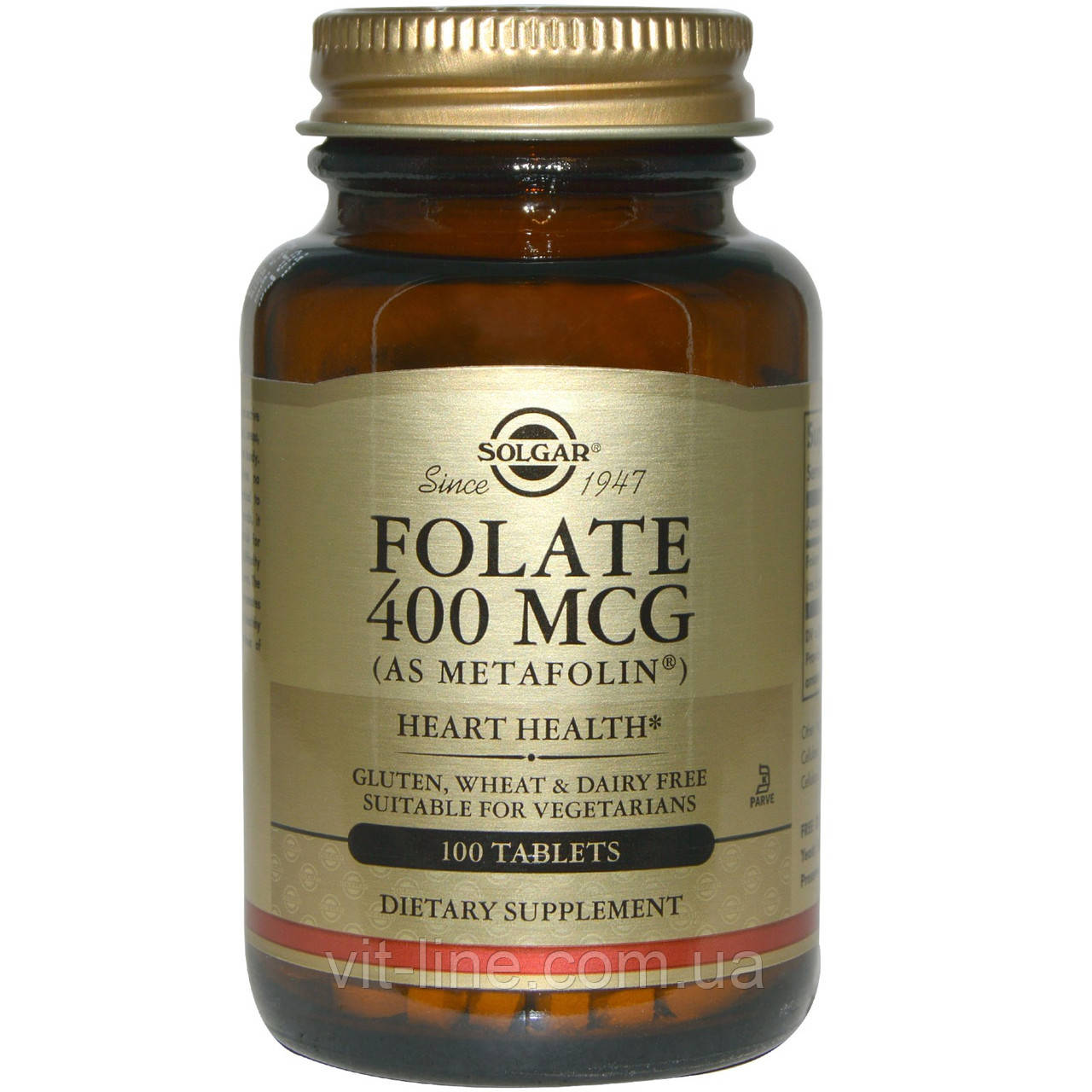 Solgar, Folate (As Metafolin), Фолат как метафолин 400 мкг 100 таблеток