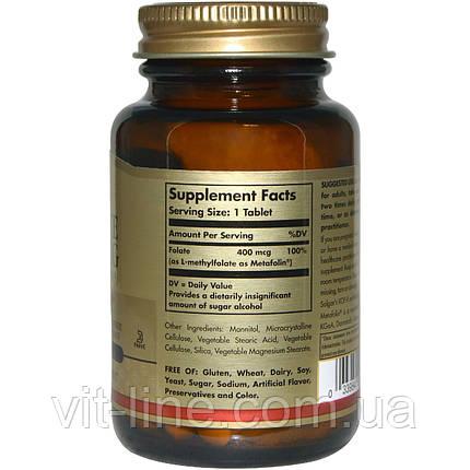Solgar, Folate (As Metafolin), Фолат как метафолин 400 мкг 100 таблеток, фото 2