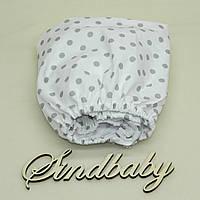 Детская простынь на резинке в кроватку, серый горошек 60х120 см