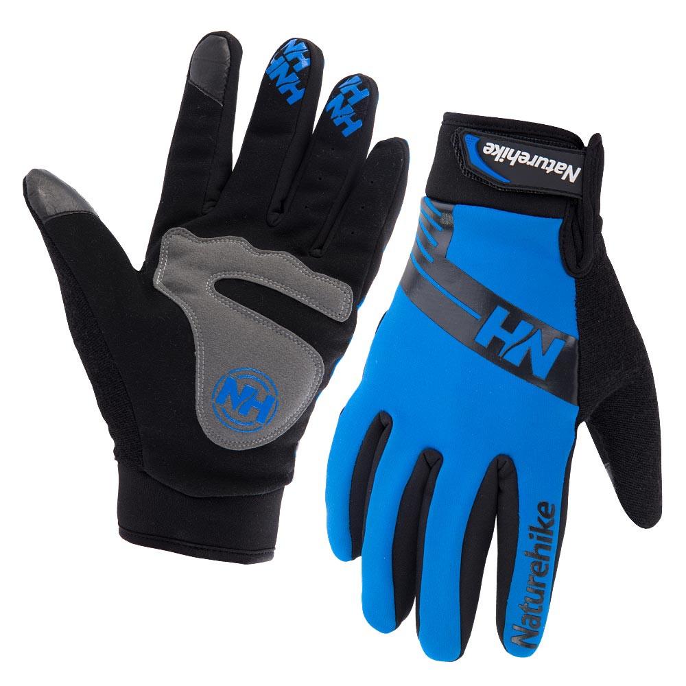 Велоперчатки зимние двухслойные SoftShell NatureHike Winter синий NH23