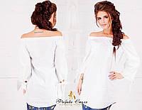Стильная женская белая туника с карманами