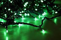 Уличная гирлянда Светодиодная Нить 10м 100 LED, цвет - зеленый, черный провод, мерцает, фото 1