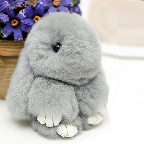 Брелок на сумку меховой кролик Rex Fendi charm (Рекс Фенди) серый, 14 см