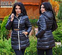 Куртка женская батал ,пояс в комплекте .зима. холлофайбер, цвета хаки.черный.синий отлично стирается .дг№2951