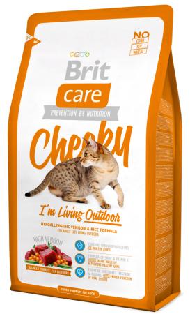 Сухой корм Brit Care CHEEKY для активных кошек, гуляющих на улице, с олениной и рисом   7КГ