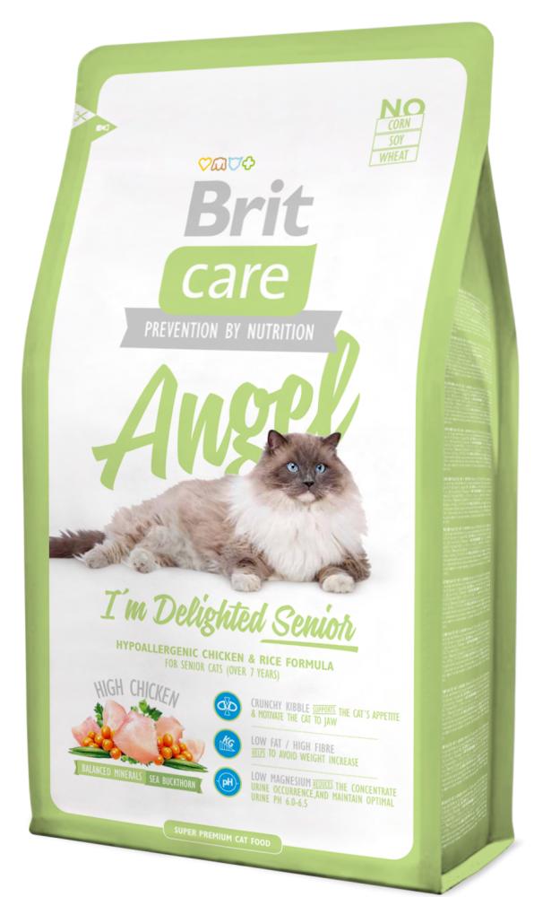 Сухой корм Brit Care ANGEL для пожилых кошек, с курицей и рисом  7КГ
