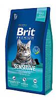 Сухой корм Brit Premium Sensitive для кошек с чувствительным пищеварением, с ягненком 8КГ