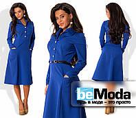 Стильное женское платье средней длины с оригинальными карманами, рубашечным воротником, блестящими пуговицами и тонким пояском в комплекте цвета