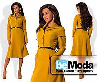 Стильное женское платье средней длины с оригинальными карманами, рубашечным воротником, блестящими пуговицами и тонким пояском в комплекте горчичное