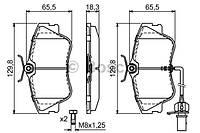 Гальмівні колодки передні з датчиком (R15, суцільний диск,129.7x65.2x19mm) VW T4 90-03 0986424672 BOSCH