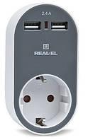 Зарядное USB-устройство REAL-EL CS-20 c розеткой