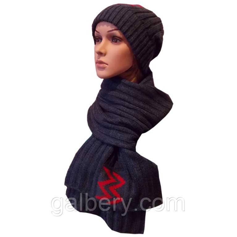 """Вязаная женская шапка носок и шарф петля с аппликацией """" красные молнии """""""