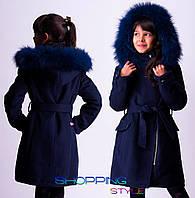Детское зимнее кашемировое пальто с мехом на капюшоне