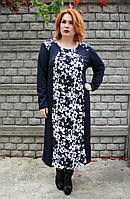 """Нарядное платье """"Букет""""(бело-синий) (60-66)"""