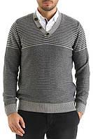 Мужской свитер De Facto / Де Факто серого цвета в полоску
