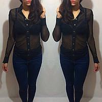 Стильная женская рубашка сетка