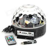 Музыкальный проектор LED Crystal magic ball light MP3 SD card - диско шар