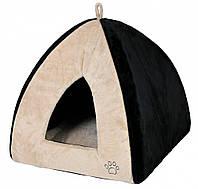 Домик-пещера Trixie Gina Cuddly Cave плюшевый, черно-бежевый, 42х37х42 см