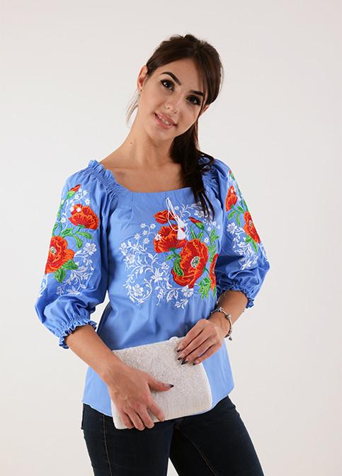 24b354d618e Современная женская блуза вышиванка украшена роскошным букетом из маков -  Оптово-розничный магазин одежды