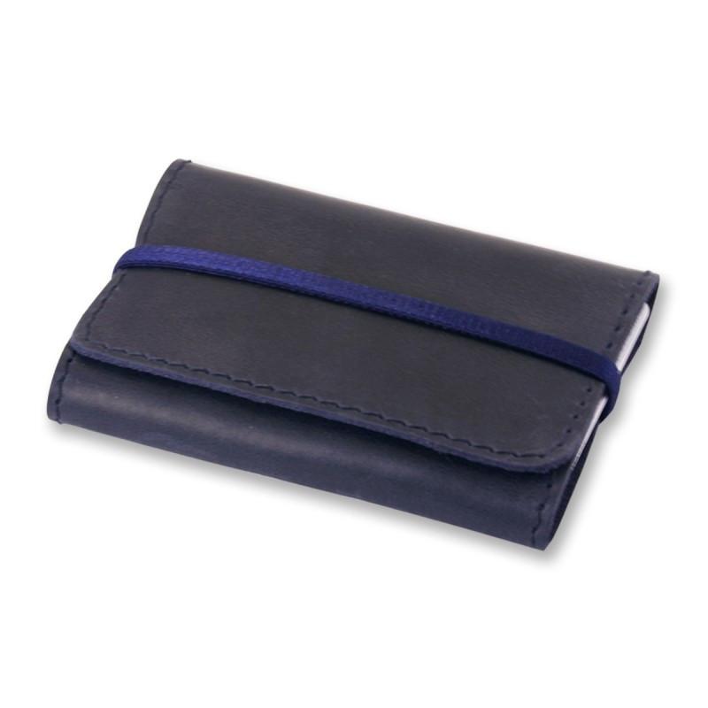 Кейс для визиток, пластиковых карт кожаный синий (ручная работа)
