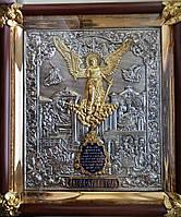 Икона Ангел Хранитель серебряная с позолотой с позолоченными херувимами
