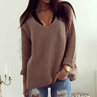 Молодежный свитер крупной вязки