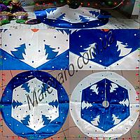 Новогодняя юбка под елку, ø 70 см (велюр, фетр, декоративные элементы). Ручная работа