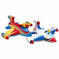 Плотик детский надувной с водным пистолетом «Самолет» 56539 Intex,147х127 см