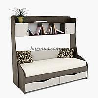 Кровать односпальная с полками и тумбами и ящиками Вектор + ПК-3