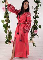 Шикарное вышитое платье из домотканого полотна длинное в пол с поясом