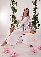 Очень красивое традиционное платье вышиванка из домотканого полотна с этническим орнаментом