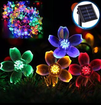Светодиодная гирлянда на солнечной батарее  Лютики RGB 7м