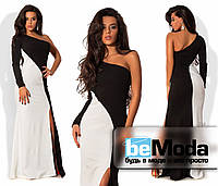 Оригинальное женское длинное двухцветное платье с одним рукавом, оригинальным декольте и разрезом на боку черно-белое