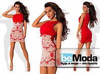 Оригинальное женское короткое платье без рукавов из креп-дайвинга со вставкой из французской вышивки расшитой пайетками на юбке красное