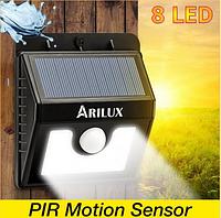 Светодиодный  светильник  ARILUX 8 Led 3 режима  на солнечной батарее с датчиком движения AL-SL01