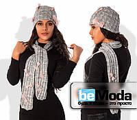 Модная женская шапка из шерстяной пряжи с косами и декоративными бантами из евросетки меланж
