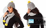 Модная женская шапка из шерстяной пряжи с косами и декоративными элементами серая