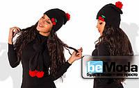 Привлекательная женская шапка из ангоры на флисе с оригинальным помпоном из натуральных нитей черная