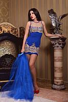 Вечернее платье с вышивкой и юбкой из фатина 3 цвета