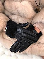 Перчатки кожаные с мехом  Вис