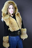 Зимняя куртка с мехом лисы, полушубок черно-рыжая