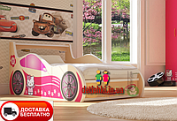 "Кровать машина "" Китти"" молочная, малина, сакура, белая."