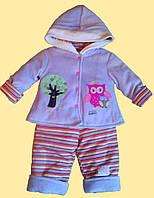 """Теплый сиреневый костюм для новорожденной, """"Сова"""": куртка и штанишки"""