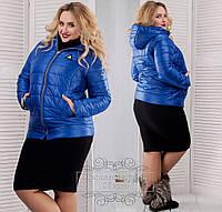 Женская синтепоновая куртка с капюшоном 48-56, фото 1