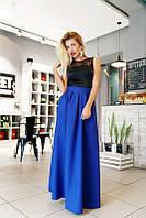 Красивое длинное платье с юбкой из габардина