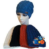 Детская шапочка арт.727, вязка (на флисе) , для девочек (р-р 52-54)