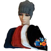 Детская шапочка арт.725, вязка (на флисе) , для девочек (р-р 52-54)