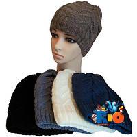 Детская шапочка арт.423, вязка (на флисе) , для девочек (р-р 52-54)