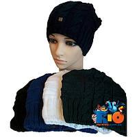 Детская шапочка арт.422, вязка (на флисе) , для девочек (р-р 54-56)